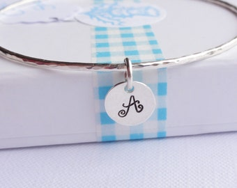 Sterling Silver Stacking Bangle with Initial Disc - Choose Size and Thickness