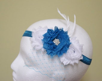 Specialty Flower Hairband, Blue and White, Feather, Photo Prop, Special Occasion, First Birthday, Photo Shoot, Toddler, Infant, Newborn