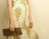 Vintage 1970's Buttercream Yellow and floral flutter sleeve Maxi dress with Tie Waist-Size M