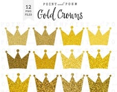 50% OFF SALE Gold glitter crown clipart, gold crowns clip art, sparkly digital crown, princess, party, scrapbooking