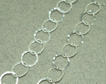 Sterling silver hammered oval chain 6mm links 1 foot