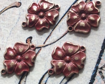 Antique patina red brass floral connectors 17mm 4pc