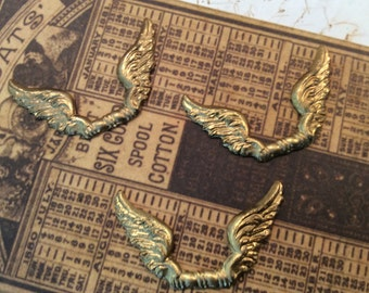Steampunk raw brass wings 2 pc