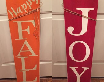 Fall/Christmas Reversible Wood Sign - 12 inches wide and 36 inches tall