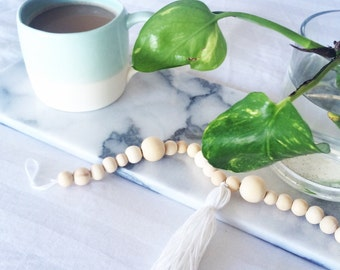 Wooden Bead Garland - White Tassels
