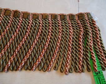 BULLION  Fringe 5 Inch  Rose and Olive Green, sold by yard