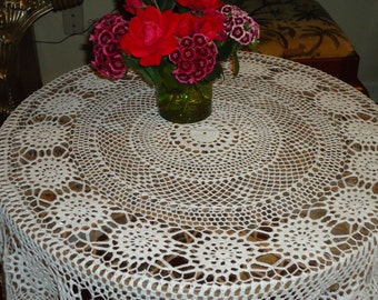 Vintage, HAND MADE White Crochet Lace, 54 Inch, Round Tablecloth, Weddings.