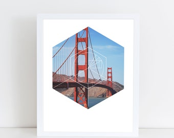 Golden Gate Bridge Art Print - Inspirational San Francisco Wall Art, Beautiful American Landmark Geometric Photography Art, Printable Poster