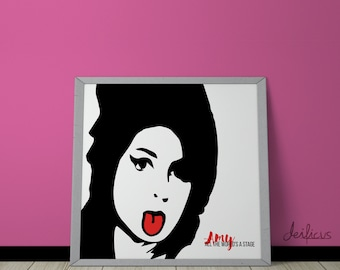 Amy WInehouse Digital Art Print - Inspirational Wall Art, Printable Art, Funny Poster Art, Canvas Art, Instant Digital Download