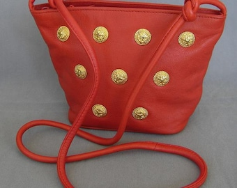 Vintage Vanessa Red Leather with Goldtone Buttons Handbag