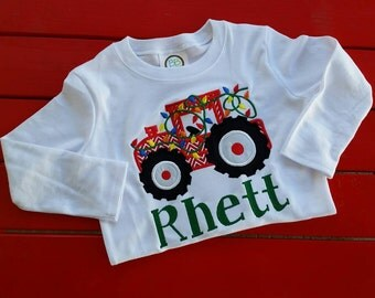 custom personalized christmas tractor shirt