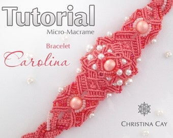 "TUTORIAL PDF Micro-Macrame bracelet ""Carolina"" pattern beaded macrame"
