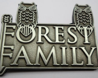forest family silver electric forest festival string cheese owl hat pin