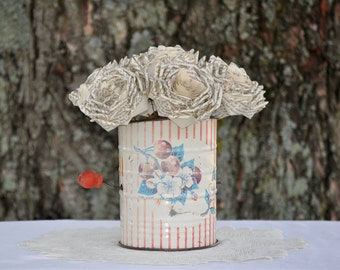 Vintage Flour Sifter with Book Paper Roses