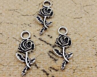 9x21mm antique silver flower charm pendant rose charm pendant MT0667