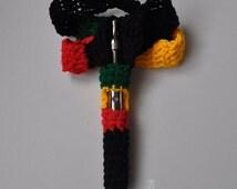 Extra Thick Rastafarian colours e cigarette cover, unique Rasta ecig case, fits Kanger, Ego Twist  1100mah or others of similar shape size.
