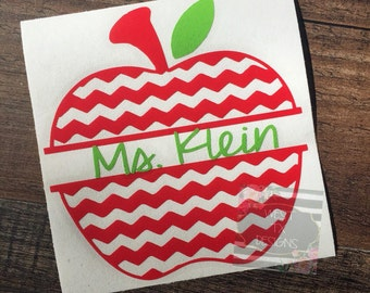 Apple Decal | Apple Monogram | Teacher Decal | Personalized Decal | Monogram Apple Decal | Teacher Gift | Apple Teacher Decal