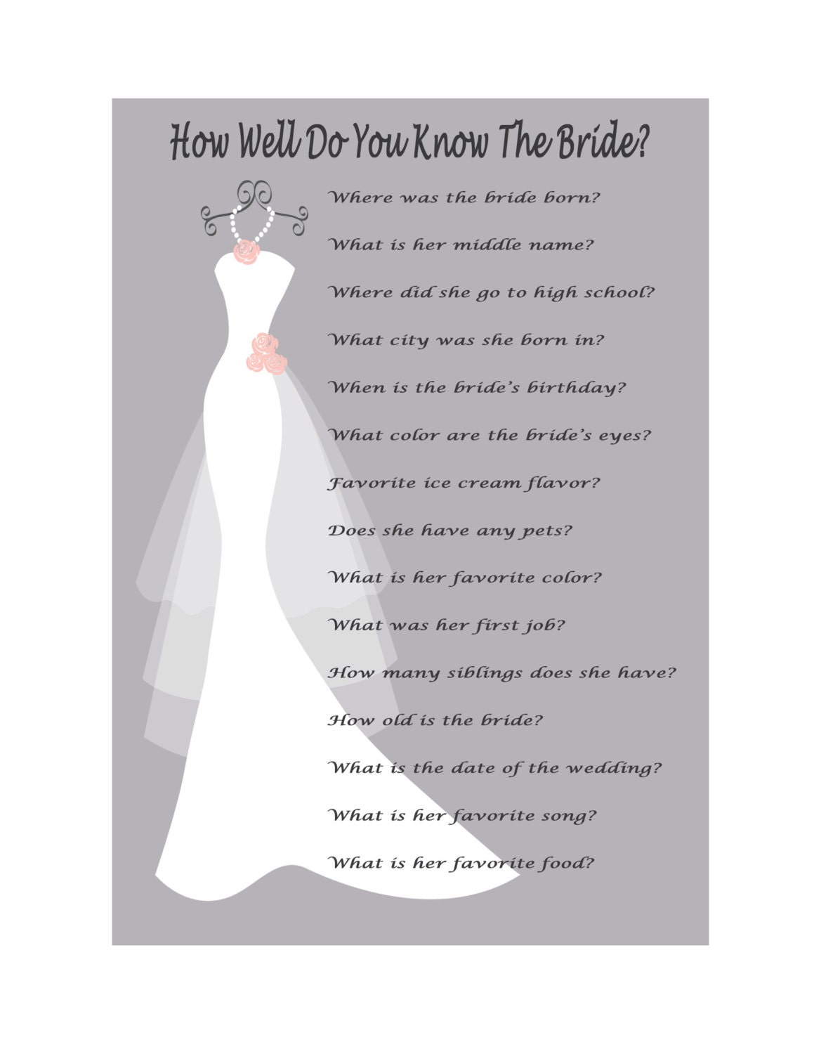How Well Do You Know The Bride: Bridal Shower Game How Well Do You Know The Bride Game Print