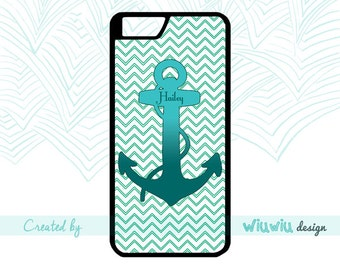 I refuse to sink Tirquoise Ombre Waves Anchor Chevron custom text/name case for iPhone 4 4s 5 5s 5c 6 6+ 6s 6s+ 7 7+ cover for iPhone .17