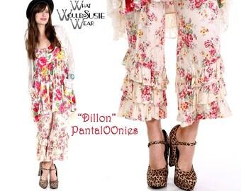 Boho White Floral Rose Capri Bloomer Pants