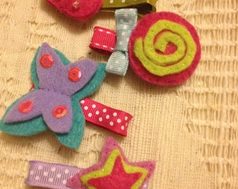 Set of 4 hair clips strawberry butterfly lollipop and star