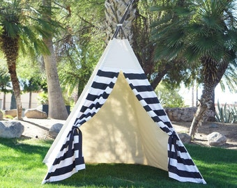 XL Monochrome teepee, 8ft kids Teepee, large tipi, Play tent, wigwam or playhouse with canvas and Overlapping front doors