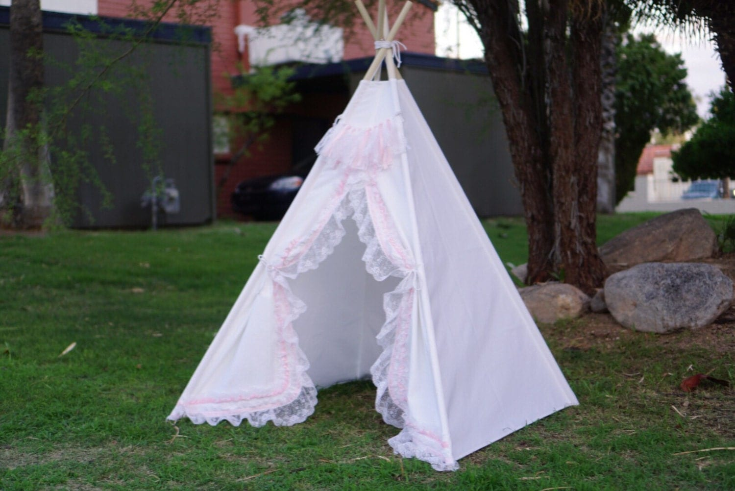 White shabby-chic lace teepee tent/ white canvas and pink lace kids Play tent/ girls canvas u0026 lace Tipi Wigwam or Playhouse ruffle photo pro & White shabby-chic lace teepee tent/ white canvas and pink lace ...