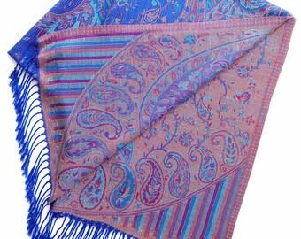 Royal blue paisley pashmina scarf