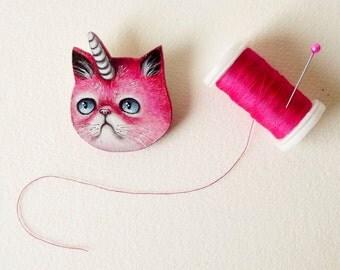 Pink unicat pin - cat unicorn brooch