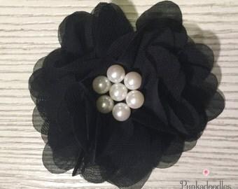 """Black Chiffon Flower Hair Clip- 2.5"""" Hair Clip- Chiffon Flower"""