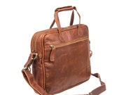 Compact Leather Laptop Case  13 Capacity  Lightweight  Leather Work Bag Or Satchel by MAHI Leather