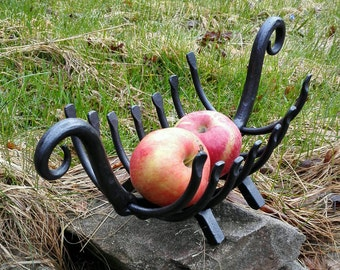 Iron fruit bowl, hand forged.