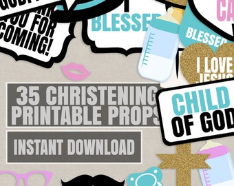 35 Christening Photo booth props, Props for christening, baby baptism photoboth props, printable prop, christening decor ideas, instant pdf