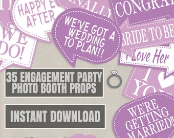 35 Pink Engagement Photo booth props, Pink photo props, photobooth ideas for engagement party pale pink props, diy engagement party planning