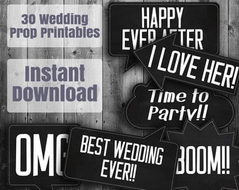 30 Wedding Photo Booth Prop Printables, chalkboard photo booth, reception speech bubbles, wedding photobooth black white, digital download