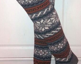 Wool knitted leg warmers , high socks