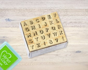 "Mini Rubber Stamp Set ""Alphabet"" with Wooden Pegs Letterpress"