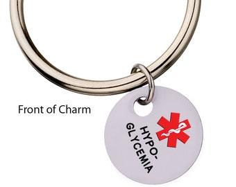 Hypoglycemia Charm on Key Ring, Medical Alert Keychain, Charm Keychain,  Medic Alert, Charm Key Ring, 104