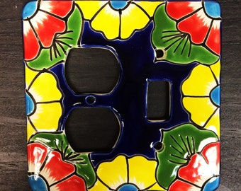 Hand made Talavera Light Switch Covers