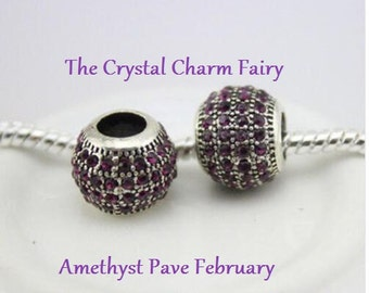 European Charm AMETHYST CRYSTAL PAVE Silver Bead February Birthstone Fits Large Hole / Pandora / European / Bracelets / Necklace