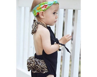 Black Baby Romper with Leopard Print Back Ruffles and Straps - Sunsuit