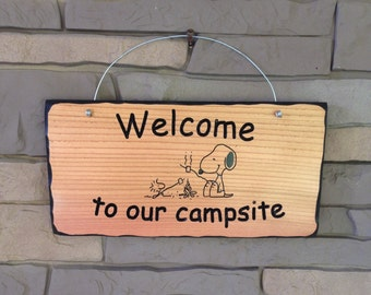 Snoopy Camping Sign