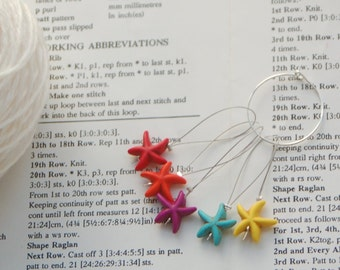 Beaded stitch markers for knitting, pack of five