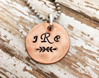 monogrammed jewelry, copper initial necklace, Monogram necklace, hand stamped monogram, copper pendant necklace, gift for her, wedding gift