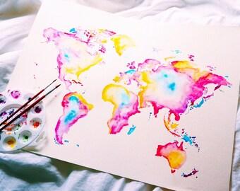 Watercolor World Map Wander Travel Atlas Print