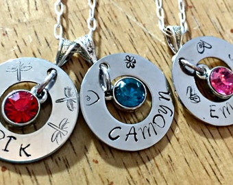 Hand stamped personalized necklace w/charms