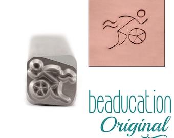 Triathlete Metal Design Stamp / Triathlon Metal Stamp - Swim Run Bike Metal Stamp - Stamping / Punch Tools for Metal Stamped Jewelry (DS496)