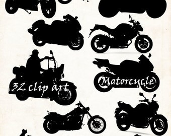 Motorcycle Silhouette ,32 png Clipart , Instant Download,motorcycles  clip art