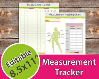 "Measurement Tracker, Weight Loss Progress Tracker, Fitness Planner 8.5x11"" Editable,  Instant Download, PDF"