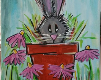 PEEK A BUNNY rabbit hare abstract 8x10 Original canvas painting wall art.  Flower garden Gift Home decor Holiday Free Shipping!